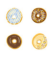set four color donuts isolated vector image