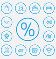 set of 13 editable business icons line style vector image