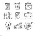set of business doodle icons on white background vector image vector image