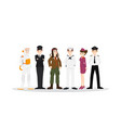 set of different career professional people vector image