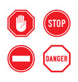 set of stop signs and danger signs vector image