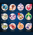 set with cartoon zodiac signs vector image vector image