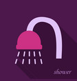 shower head with water drops flowing isolated vector image vector image