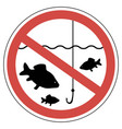 sign time spawning fishing is prohibited fish vector image vector image
