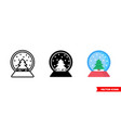 snow globe icon 3 types isolated sign vector image vector image
