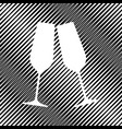 sparkling champagne glasses icon hole in vector image