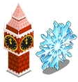 Tower of Kremlin in Moscow and snowflake isolated vector image