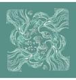vintage marine pattern on aquamarine vector image vector image