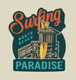 vintage surfing paradise label vector image vector image