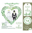 wedding invitationgreen branches heart wedding vector image vector image