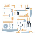 woodwork tool kit set hand carpentry equipment vector image