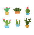 set of cactus icon collection vector image