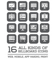 All Kinds of Billboard Icons Set of Icons for all vector image vector image