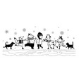 animals ski with kid winter holiday vintage design vector image vector image