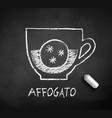 black and white sketch affogato coffee vector image vector image