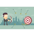 Blindfold businessman shooting arrow vector image vector image