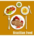 Brazilian cuisine dinner dishes and snacks vector image vector image