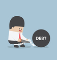 Businessman trying to destroy debt chain by hacksa vector image vector image