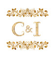 c and i vintage initials logo symbol letters c vector image