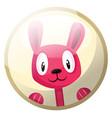 cartoon character of a pink rabbit smiling in vector image