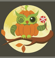 cartoon halloween orange pumpkin owl flat poster vector image vector image
