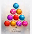 christmas tree made of hanging baubles vector image vector image