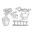 cinema and movie hand drawn set of filmmaking vector image vector image