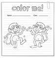 Coloring worksheet with monkeys vector image vector image