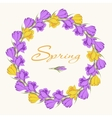 crocus wreath 2 purple yellow vector image vector image