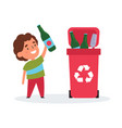 cute girl sorting trash and garbage for recycling vector image vector image