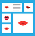flat icon lips set of kiss tongue lips and other vector image vector image