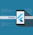 flutter programming language with flat and long vector image vector image