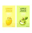 fresh lemon and apple juice labels templates set vector image