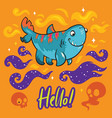 funny print with four-legs shark for halloween vector image