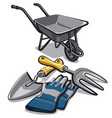 gardening tools and wheelbarrow vector image vector image
