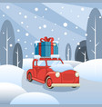 gift delivery the car goes through the winter vector image vector image
