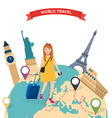 Girl standing with travel bag holding passport and vector image vector image