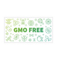 gmo free outline banner on white background vector image vector image