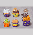 halloween party colorful sweets icons set vector image