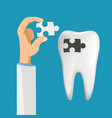 human tooth with a hole caries tooth filling vector image vector image