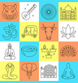 india icons set in thin line style vector image vector image