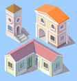 isometric residential buildings in cartoon vector image vector image