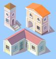 isometric residential buildings in cartoon vector image