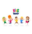 kids party cartoon background with funny company vector image