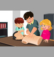 kids practicing cpr vector image