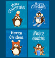 merry christmas and happy new year penguins set vector image vector image