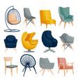 modern armchair set interior furniture design vector image vector image