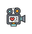 movie camera with film strip video love story vector image vector image