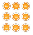 orange circular paper labels on sale vector image