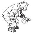 papa bear kneeling down vintage vector image vector image